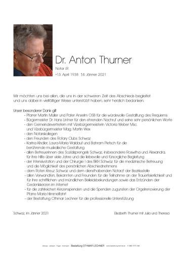 Parte von Dr. Anton Thurner
