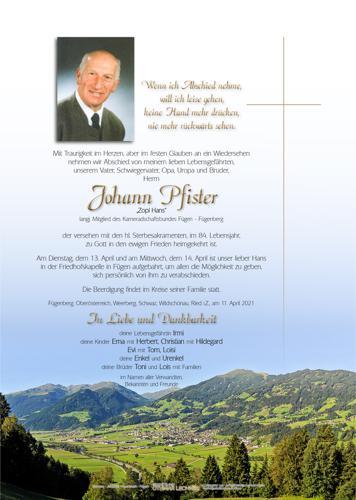 Parte von Johann Pfister