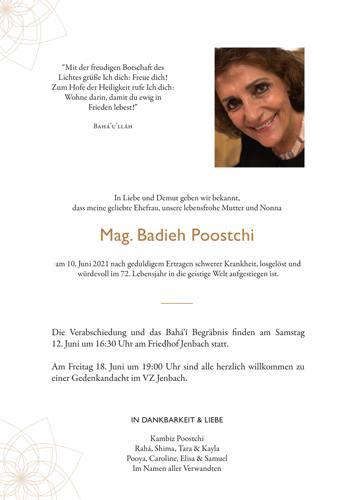 Parte von Mag. Badieh Poostchi